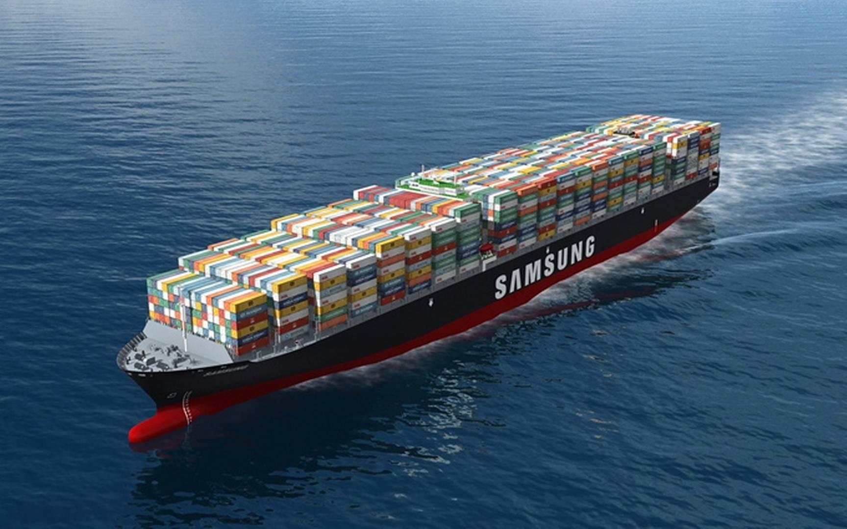 Samsung 21,100 TEU container ship render